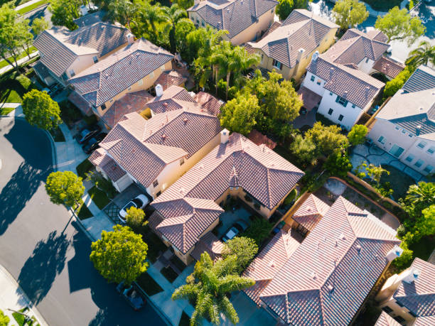 Aerial of Neighborhood An aerial shot of a neighborhood. urban sprawl stock pictures, royalty-free photos & images