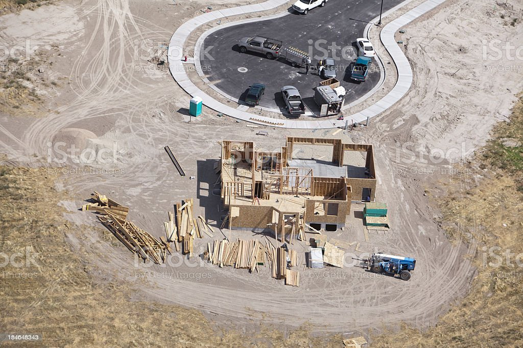 Aerial of New Residential Construction stock photo
