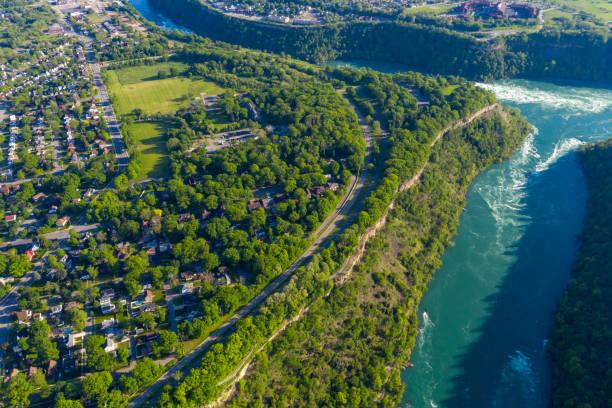 Aerial of Niagara falls town view, Ontario, Canada Ontario, Canada rainbow bridge ontario stock pictures, royalty-free photos & images