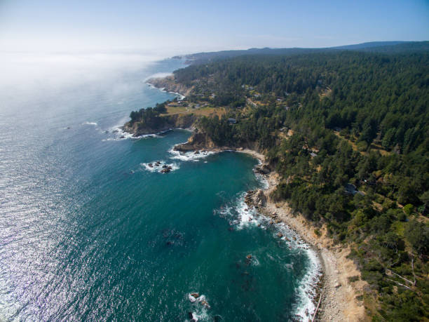 Aerial of northern California coast with forest and ocean stock photo