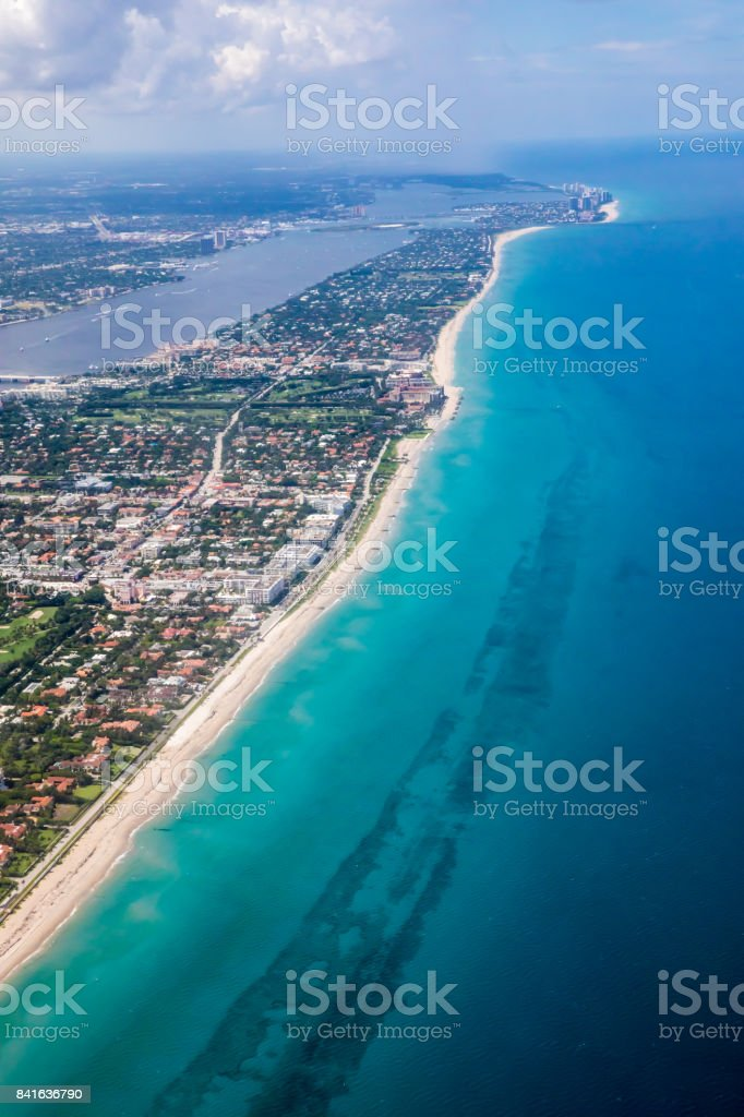 Aerial of Palm Beach, Florida  and Atlantic Ocean stock photo