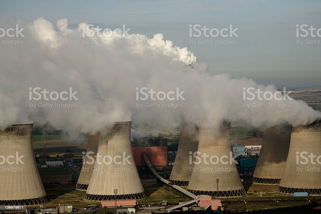 Aerial of Power Station stock photo