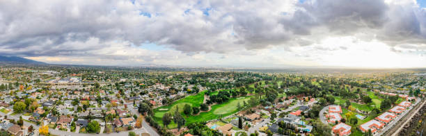 Aerial of Rancho Cucamonga, California California suburbs from a drone point of view in Rancho Cucamonga, California san bernardino california stock pictures, royalty-free photos & images