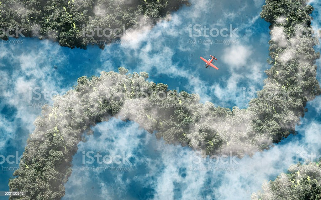 Aerial of red airplane flying over rainforest with river. stock photo