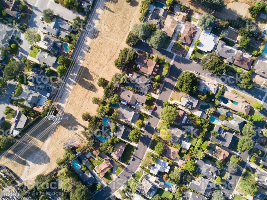 Aérea de la zona residencial foto de stock libre de derechos