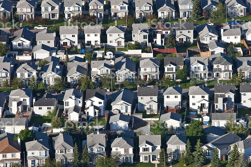 Aerial of Residential Neighbourhood and Housing Development stock photo