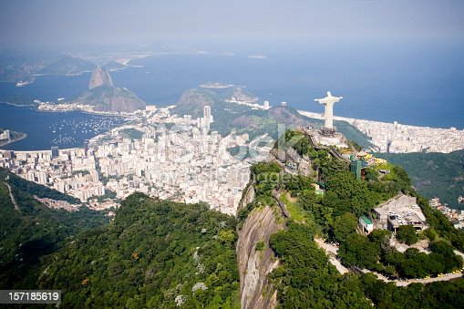 Aerial view of Rio de Janeiro on a sunny day taken from a helicopter.  In view are the landmarks Christ the Redeemer and Sugarloaf Mountain.