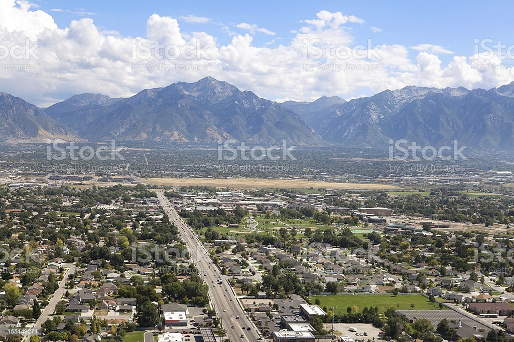 Aerial of Salt Lake City Utah stock photo