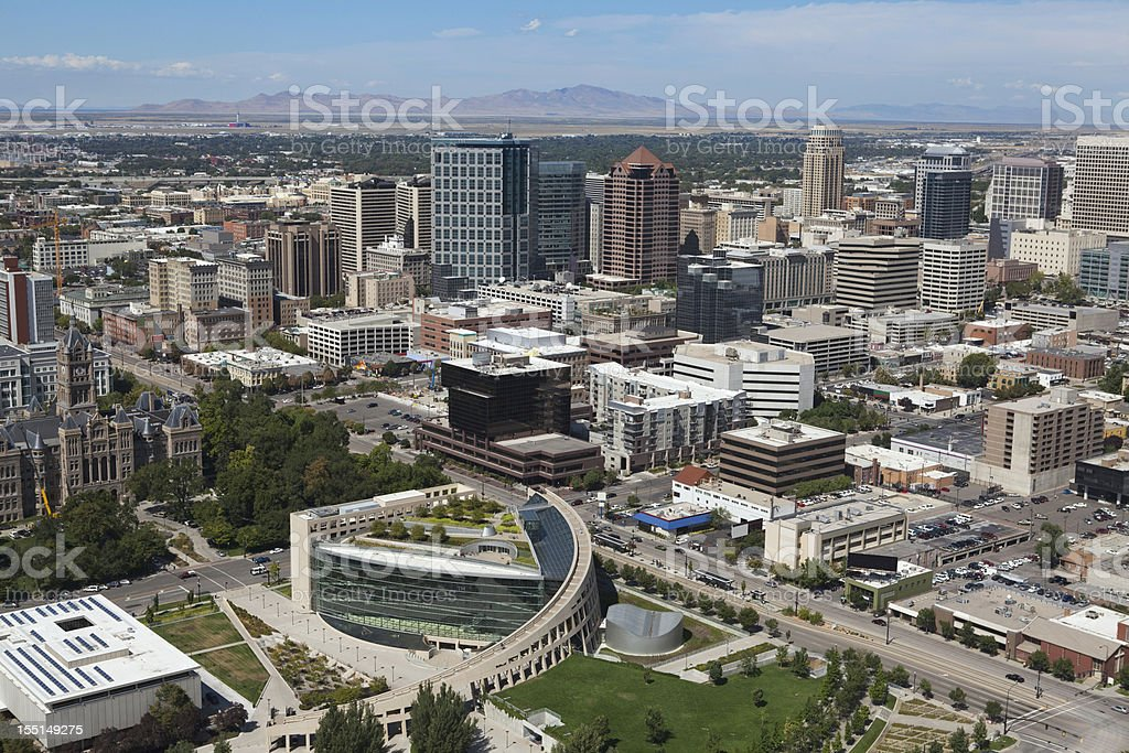 Aerial of Salt Lake City Utah royalty-free stock photo