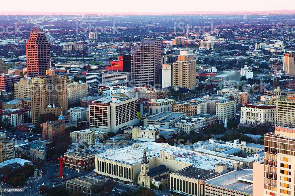 Aerial of San Antonio, Texas stock photo