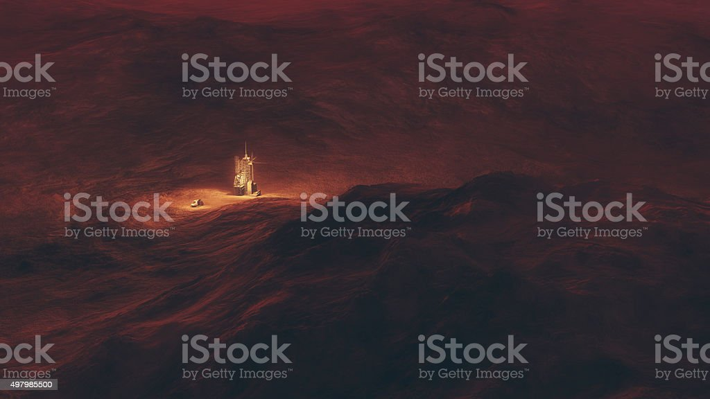 Aerial of space station and capsule on red planet. stock photo