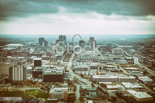 The skyline, Arch, and surrounding communities of St. Louis, Missouri shot from an altitude of about 1000 feet.
