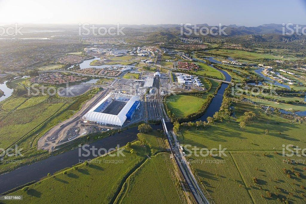 Aerial of stadium stock photo