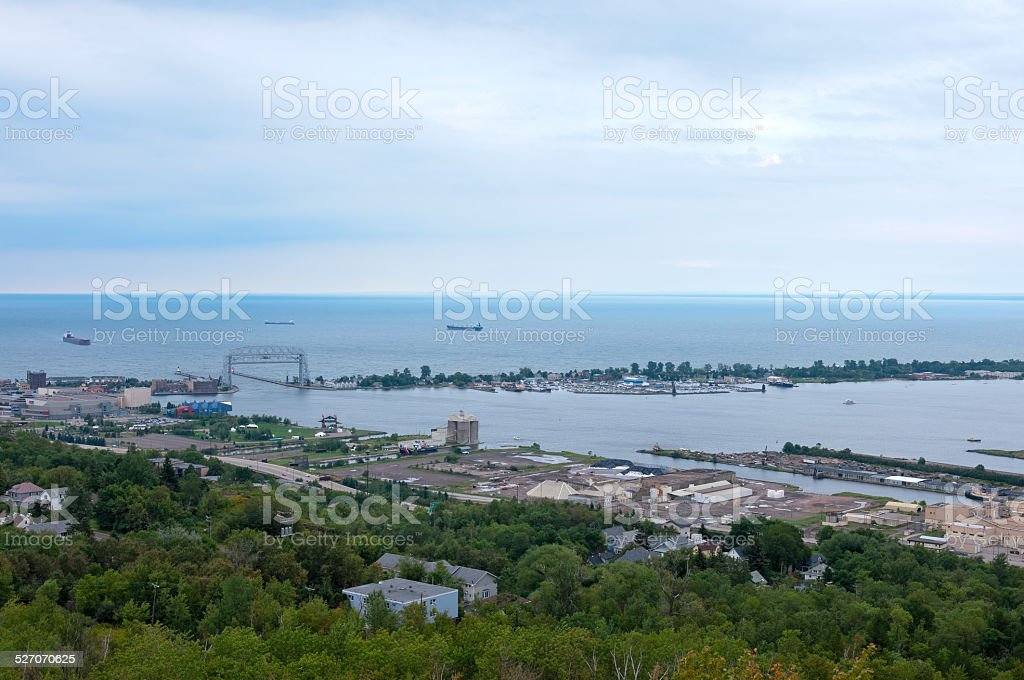 Aerial of Superior Bay and Harbor stock photo