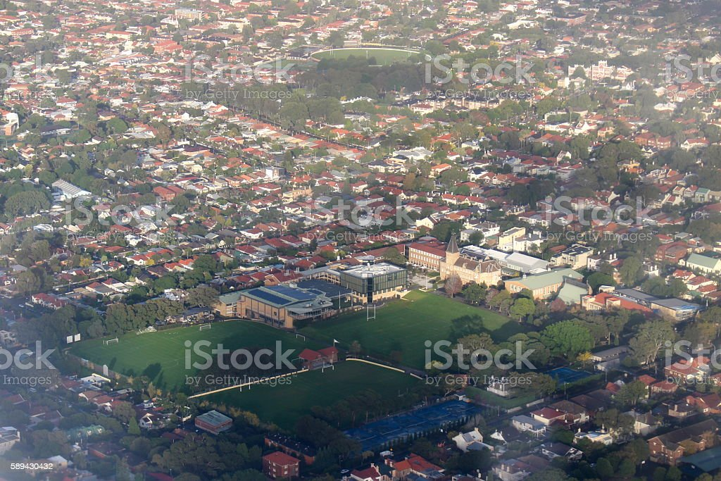 Aerial of Sydney Newington College stock photo