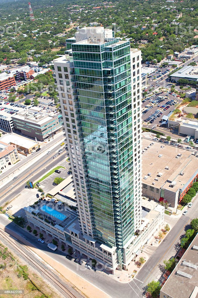 Aerial of tall building in Austin, Texas royalty-free stock photo