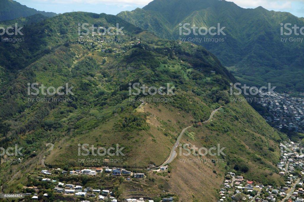 Aerial of Tantalus Mountain stock photo
