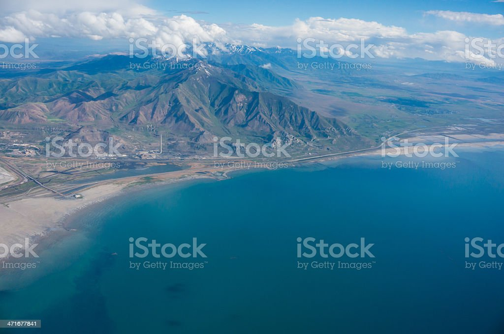 Aerial of the Great Salt Lake stock photo