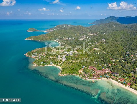 Aerial panorama of the beautiful Beaches Haad Yao, Haad Salad and Ko Ma, Koh Phangan, Thailand. Converted from RAW