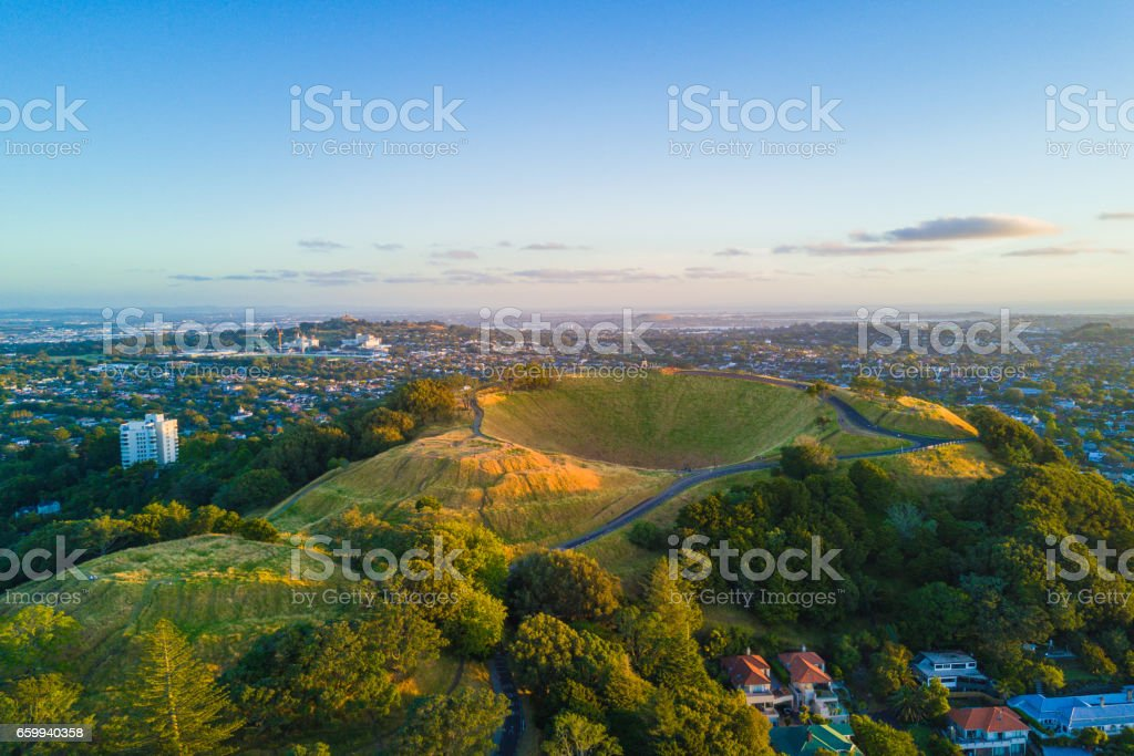Aerial of the Mount Eden volcano in Auckland, Newzealand. stock photo