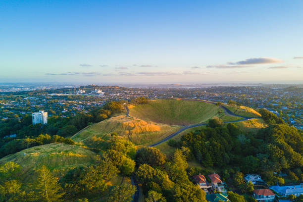 Aerial of the Mount Eden volcano in Auckland, Newzealand. stock photo