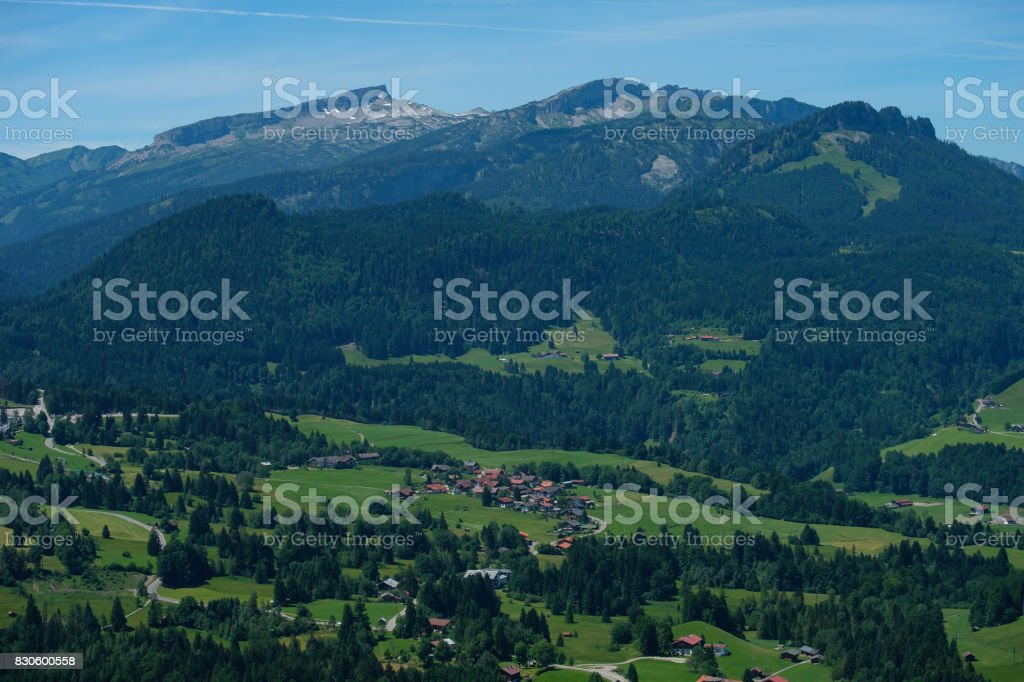 Aerial of the mountain Hoher Ifen and Gottesacker in the little Walser valley stock photo