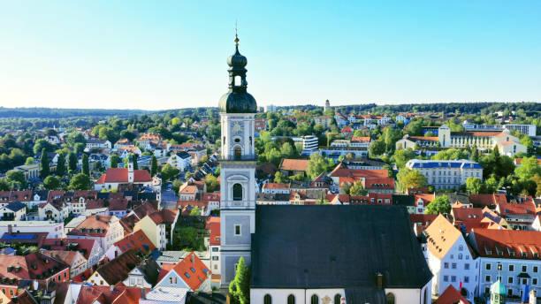 aerial of the St. Georg church in the city center of Freising, Marienplatz, Bavaria, Germany stock photo