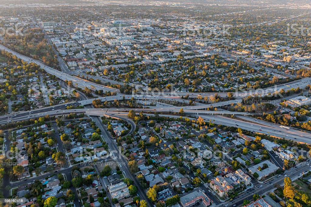 Aerial of the Ventura and Hollywood Freeways in Los Angeles stock photo