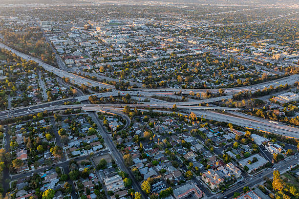 aerial of the ventura and hollywood freeways in los angeles - san fernando valley stock photos and pictures