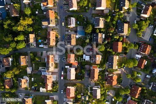 Traditional houses in residential area in Germany, aerial view.