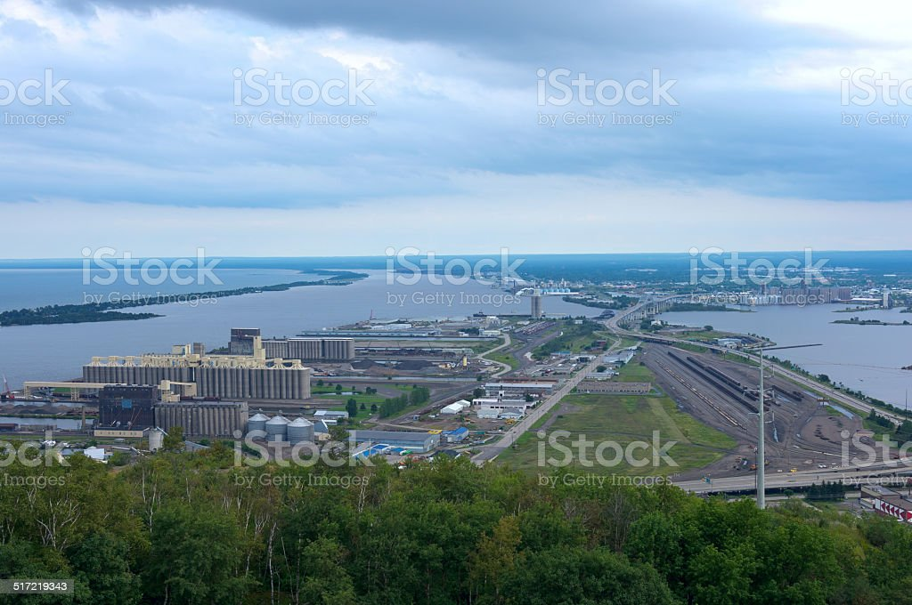 Aerial of Twin Ports in Duluth Superior stock photo