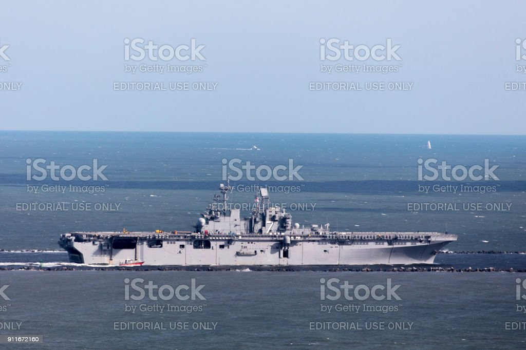 Aerial of USS Iwo Jima LHD-7 stock photo