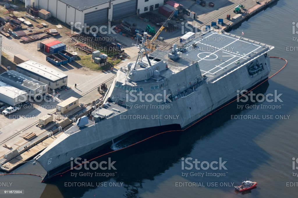 Aerial of USS Jackson LC-6 stock photo