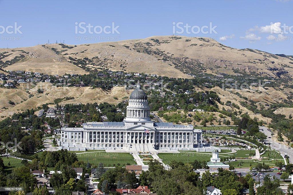 Aerial of Utah State Capitol stock photo
