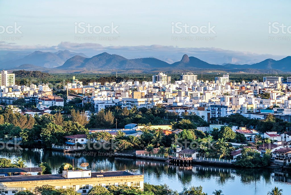 aerial of Vitoria in sunset stock photo