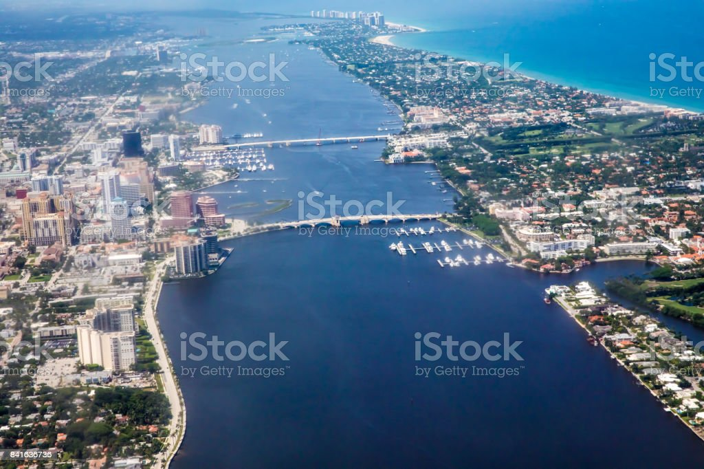 Aerial of West Palm Beach, Florida stock photo