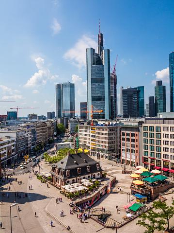 Luftaufnahme Der Zeil Und Die Hauptwache Frankfurt Am Main Stockfoto
