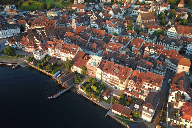 Aerial of Zug Old Town, Switzerland Aerial drone image of Zug, Switzerland with focus on the Zug Old Town and its waterfront. zug stock pictures, royalty-free photos & images
