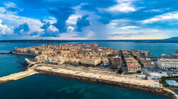 Aerial. Ortigia a small island which is the historical center of the city of Syracuse, Sicily. Italy.