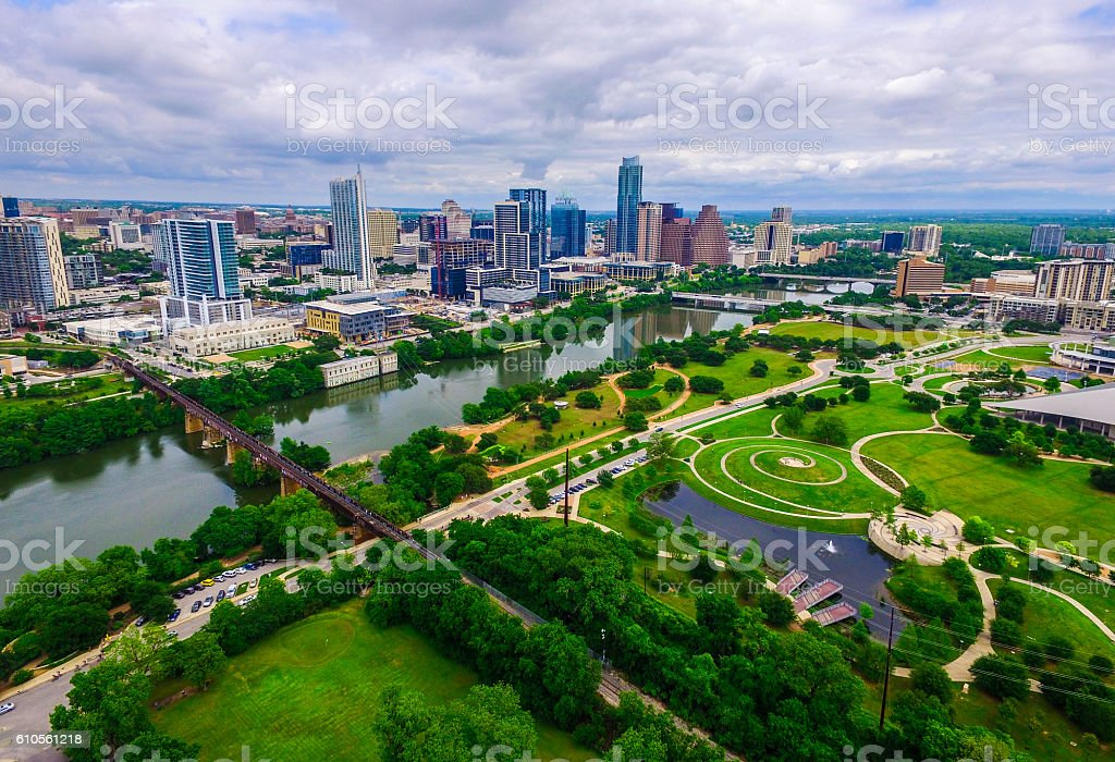 Aerial Over Austin Texas Green Modern Urban Meets Nature stock photo