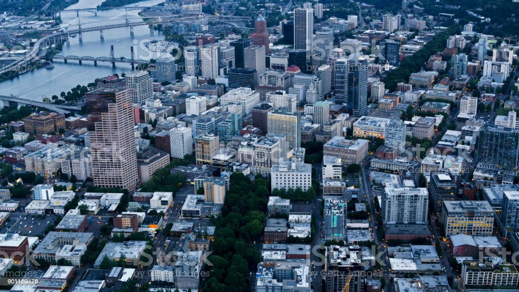 Aerial over downtown Portland stock photo