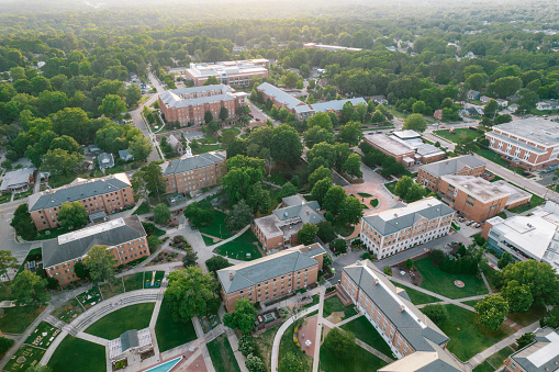 Aerial over North Carolina Central University in the Spring