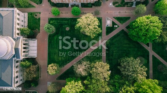 Aerial over the University of North Carolina in the Spring