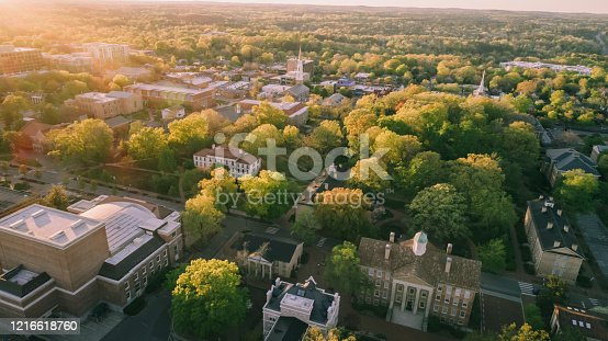 Aerial over the University of North Carolina at Chapel Hill in the spring.