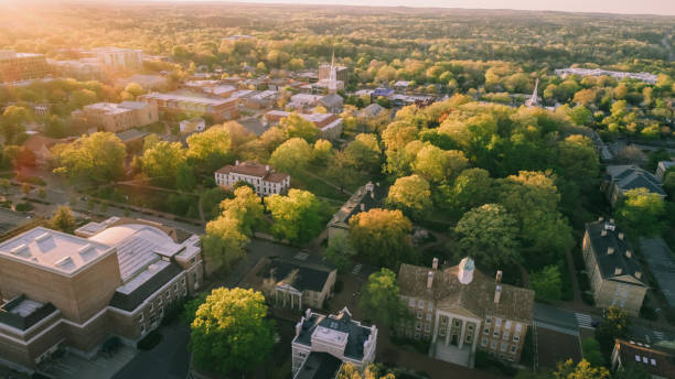 Aerial over the University of North Carolina in the Spring stock photo