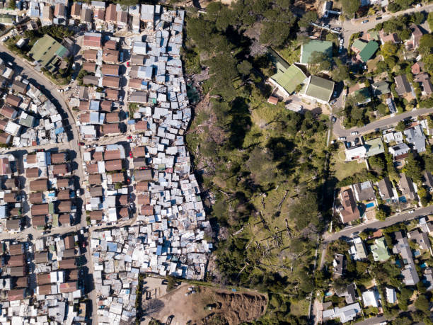 Aerial overhead township and middle class houses in South Africa stock photo
