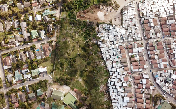 Aerial overhead township and suburban houses, South Africa stock photo