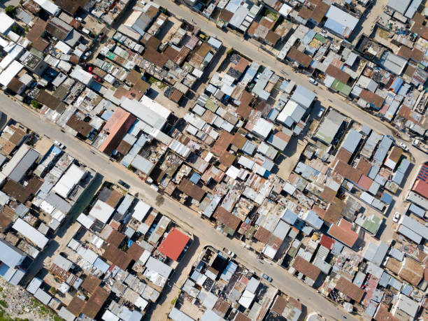Aerial overhead township in South Africa stock photo