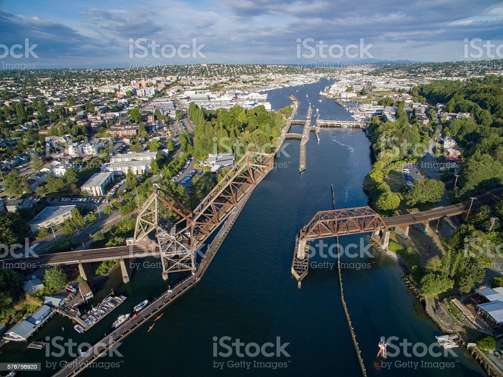 Aerial Overview Ballard Neighborhood Seattle, Washington, Ballard Locks - foto de stock