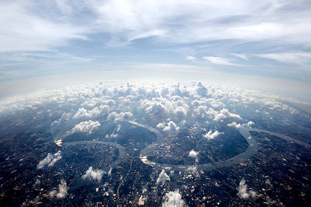 Aerial overview Bangkok cityscape Aerial overview Bangkok cityscape.Town scenery above the clouds horizon over land stock pictures, royalty-free photos & images